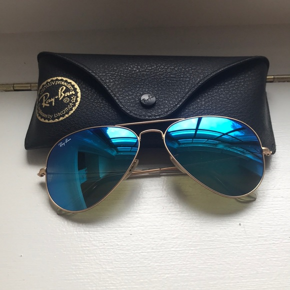 5814c0ab5ce7 Ray-Ban Accessories | Ray Ban Blue And Gold Aviators Price Firm ...